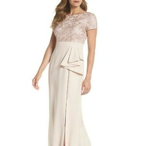 Adrianna Papell Sequined Embroidered Bodice Gown